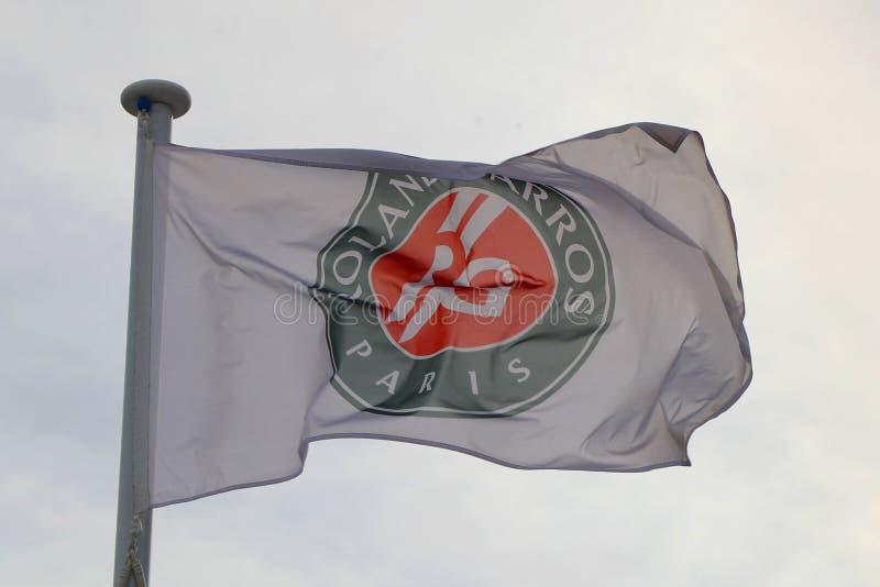 The Roland-Garros flag during 2019 Australian Open in Melbourne Park. MELBOURNE, AUSTRALIA - JANUARY 27, 2019: The Roland-Garros flag during 2019 Australian Open stock photos