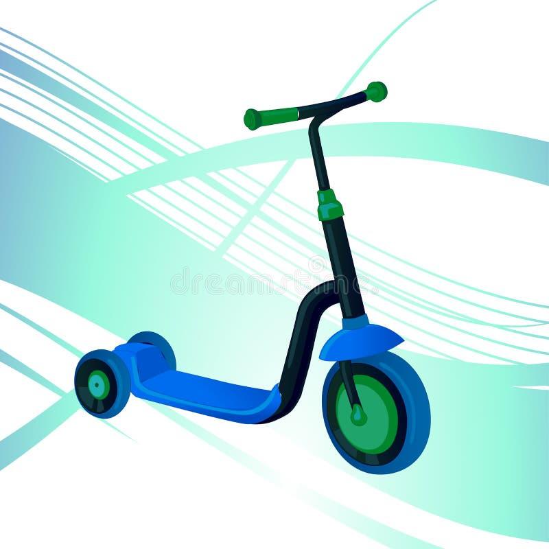 Rolautoped voor kinderen Saldofiets Het vervoer van de Ecostad De vectorinzameling van de schopautoped Duwcyclus op wit wordt geï stock illustratie