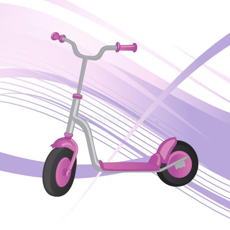 Rolautoped voor kinderen Saldofiets Het vervoer van de Ecostad De vectorinzameling van de schopautoped Duwcyclus op wit wordt geï vector illustratie