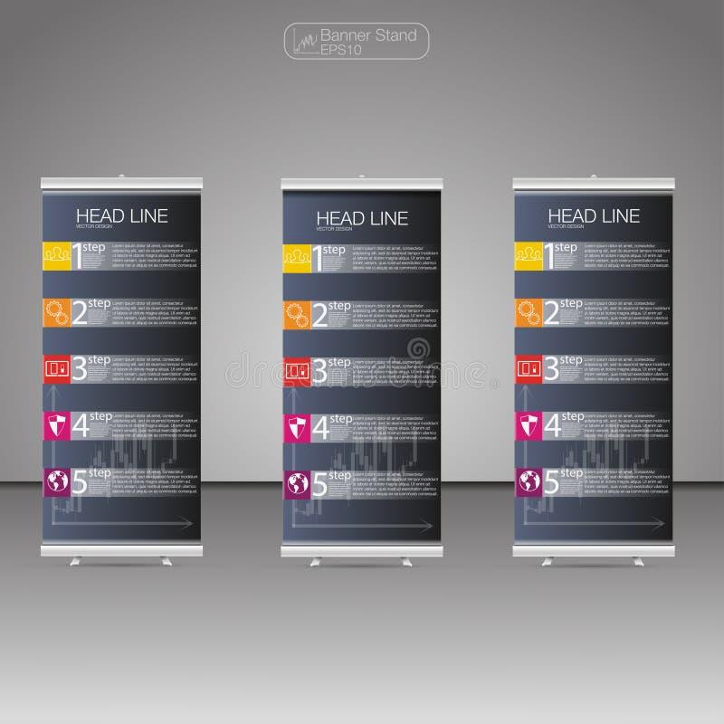 Role acima gráficos do suporte, do molde e da informação da bandeira, projeto do suporte da bandeira Vetor ilustração stock
