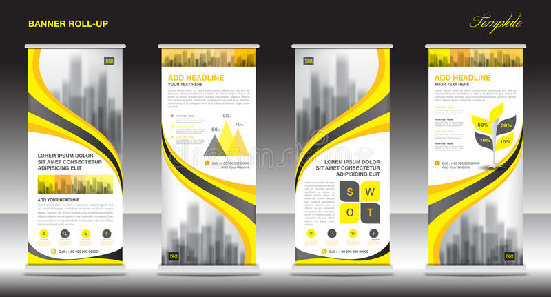 Role acima o projeto do molde do suporte da bandeira, disposição amarela da bandeira ilustração stock