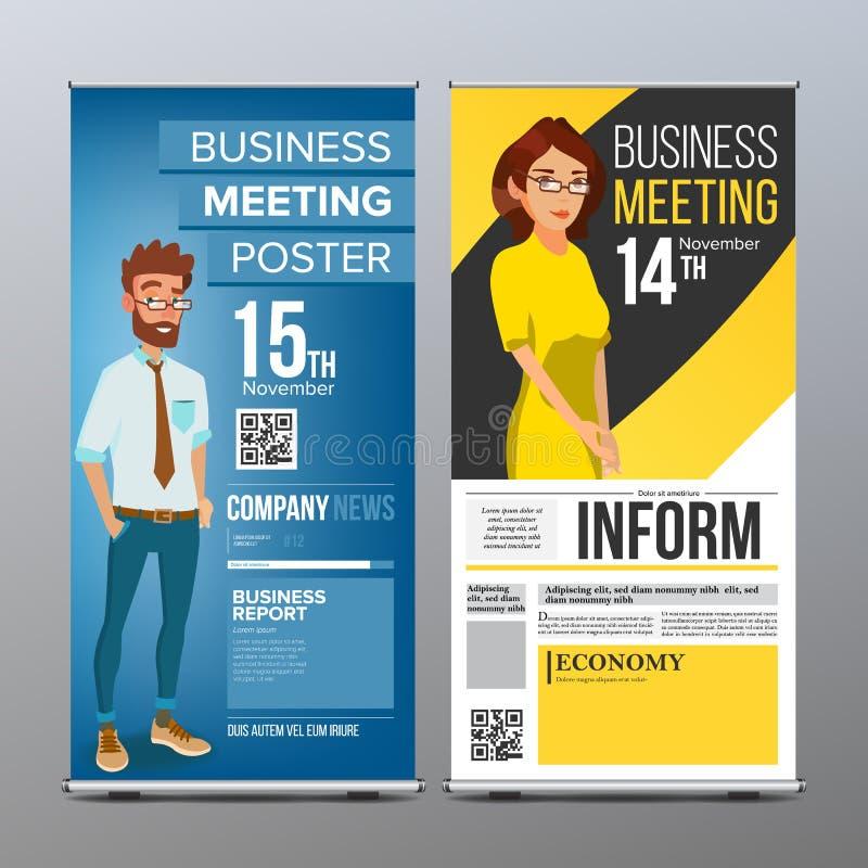 Role acima o vetor da bandeira Molde vertical do quadro de avisos Homem de negócios e mulher de negócio Tecnologia, ciência Para  ilustração royalty free