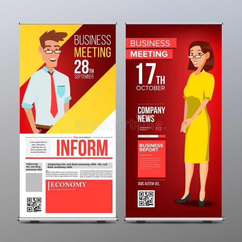 Role acima o vetor da exposição Disposição vertical do molde do cartaz Homem de negócios e mulher de negócio Tecnologia, ciência  ilustração do vetor