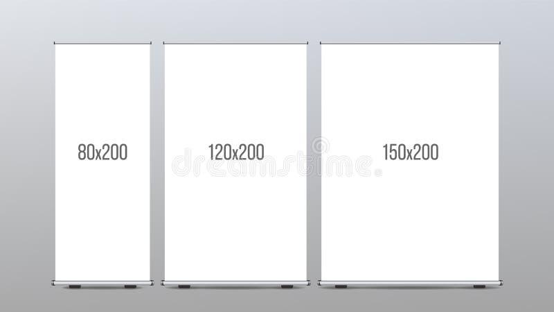 Role acima o vetor do suporte da bandeira Grupo vertical da placa para o projeto da propaganda de comércio A empresa rola acima M ilustração stock