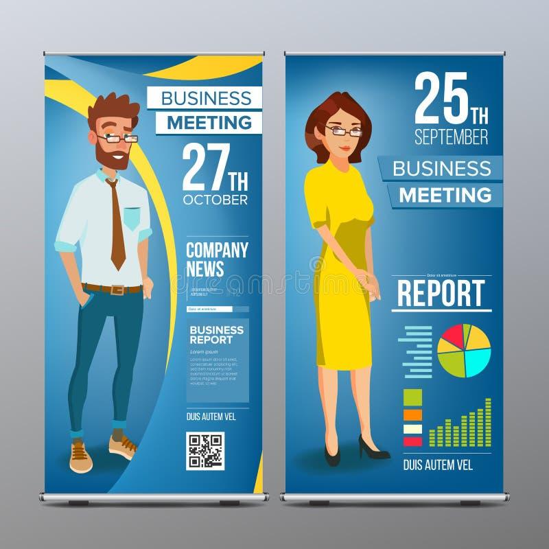 Role acima o vetor do suporte Projeto vertical da placa da bandeira Homem de negócios e mulher de negócio Mercado, exposição Para ilustração stock