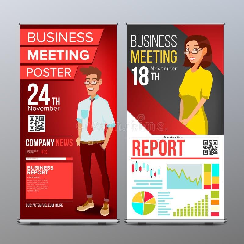 Role acima o vetor do suporte Projeto vertical da placa da bandeira Homem de negócios e mulher de negócio Para a conferência de n ilustração royalty free
