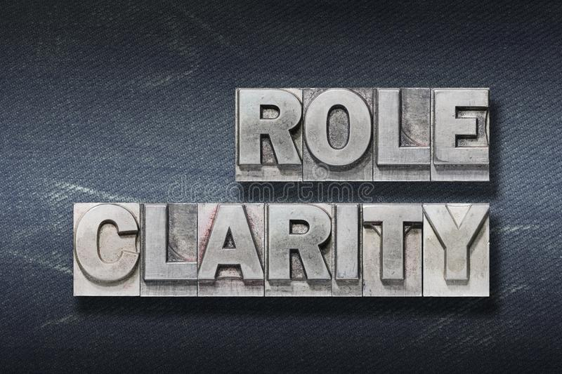 Role clarity den. Role clarity phrase made from metallic letterpress on dark jeans background royalty free stock photography