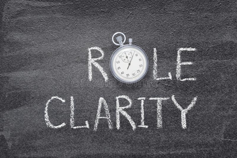 Role clarity watch. Role clarity phrase written on chalkboard with vintage precise stopwatch royalty free stock photography