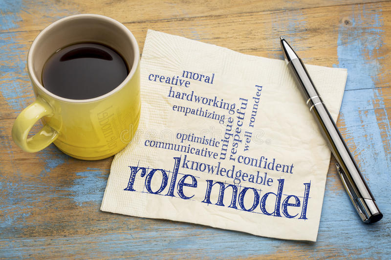 Role model qualities. Word cloud -handwriting on a napkin with a cup of coffee royalty free stock image