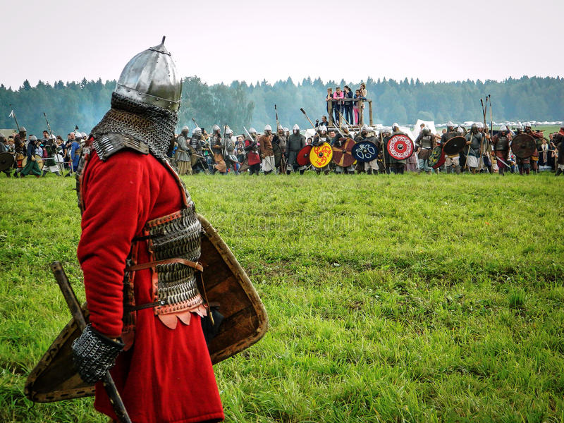 Role play - the reenactment of the battle of the ancient Slavs on the festival of historical clubs in the Kaluga region of. Russia. In recent years, Russia stock photography