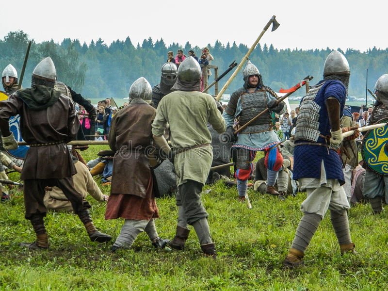 Role play - the reenactment of the battle of the ancient Slavs on the festival of historical clubs in the Kaluga region of. Russia. In recent years, Russia stock photos