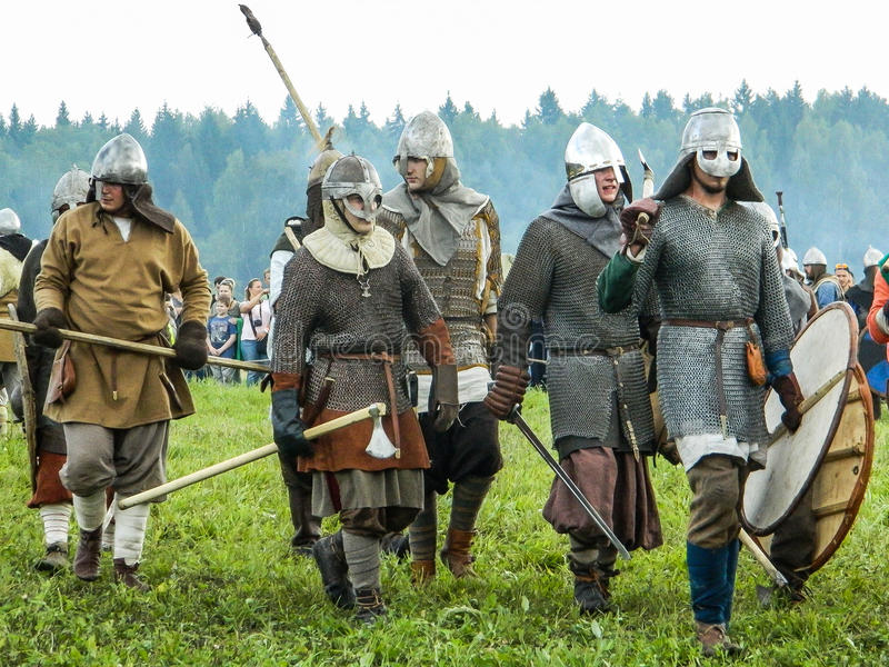 Role play - the reenactment of the battle of the ancient Slavs on the festival of historical clubs in the Kaluga region of. Russia. In recent years, Russia stock image