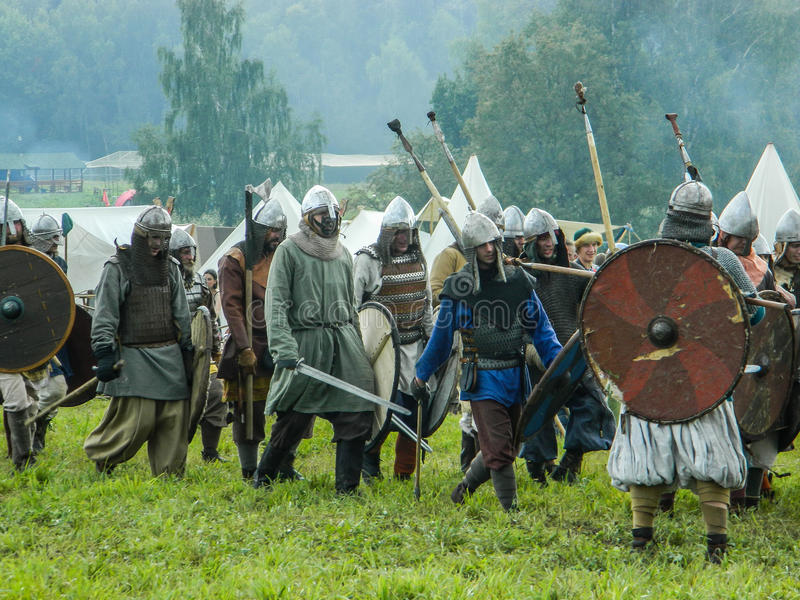 Role play - the reenactment of the battle of the ancient Slavs on the festival of historical clubs in the Kaluga region of. Russia. In recent years, Russia stock images