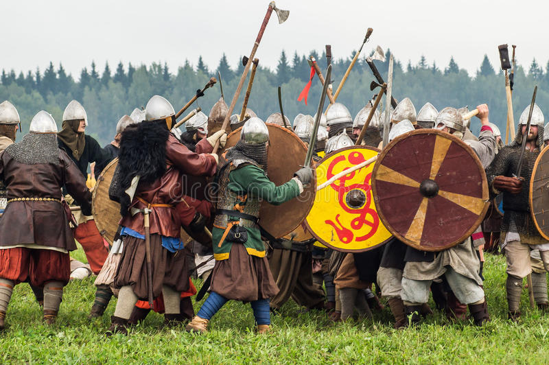 Role play - the reenactment of the battle of the ancient Slavs in the fifth festival of historical clubs in Zhukovsky district of. Kaluga region of Russia. In stock photography