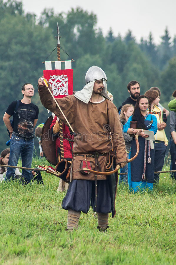 Role play - the reenactment of the battle of the ancient Slavs in the fifth festival of historical clubs in Zhukovsky district of. Kaluga region of Russia. In stock images