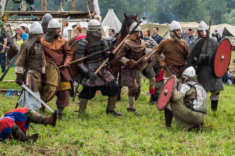 Role play - the reenactment of the battle of the ancient Slavs in the fifth festival of historical clubs in Zhukovsky district of. Kaluga region of Russia. In stock photos