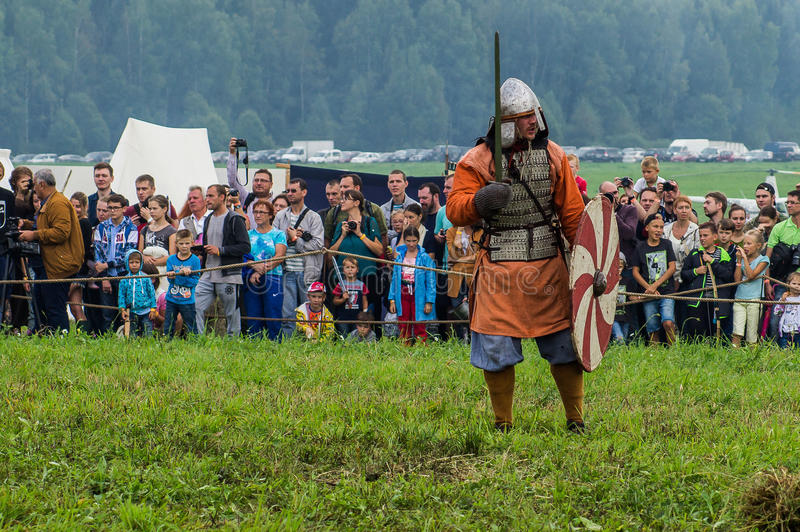 Role play - the reenactment of the battle of the ancient Slavs in the fifth festival of historical clubs in Zhukovsky district of. Kaluga region of Russia. In royalty free stock photos