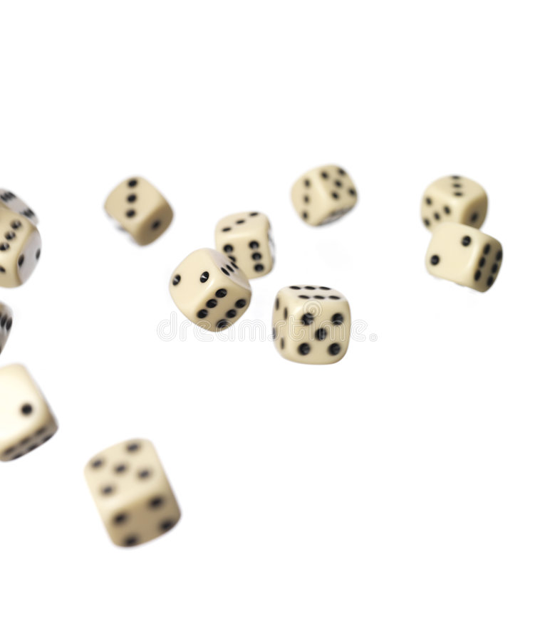 Roled dices. 11 background bad compete dices game life luck movement play roled several still studio white royalty free stock images