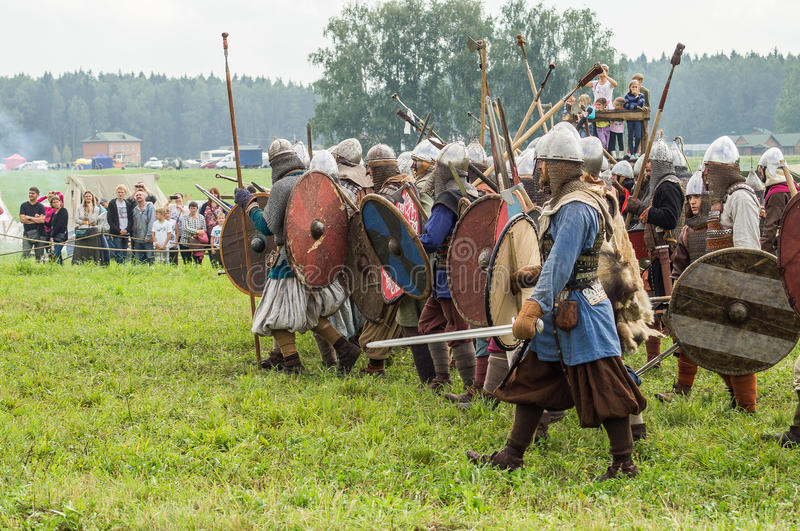 Roleplay - reconstruction of old Slavic battle on the festival of historical clubs in the Kaluga region of Russia. In recent years, Russia became widespread stock image