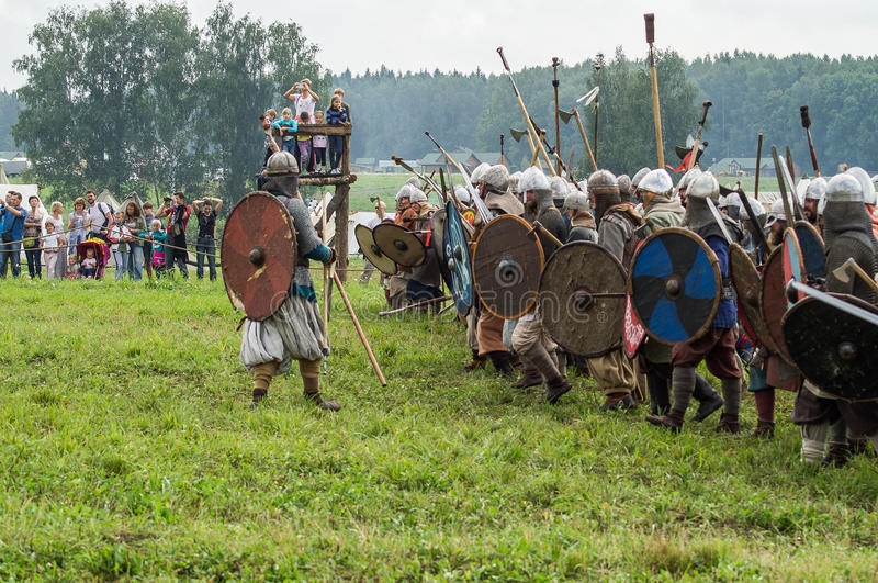 Roleplay - reconstruction of old Slavic battle on the festival of historical clubs in the Kaluga region of Russia. In recent years, Russia became widespread royalty free stock photography