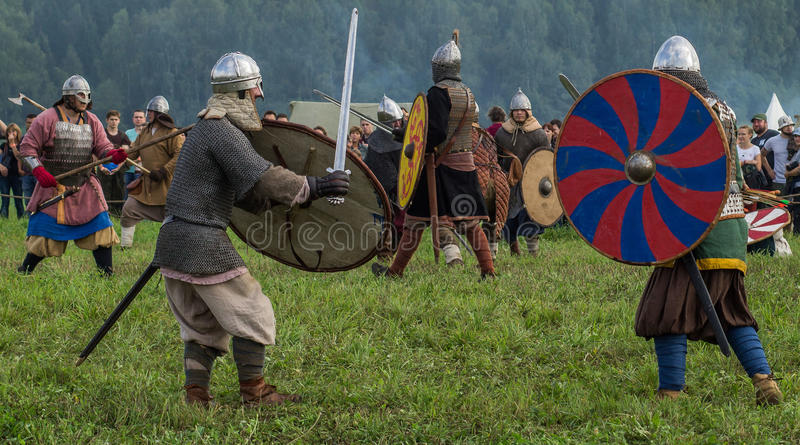 Roleplay - reconstruction of old Slavic battle on the festival of historical clubs in the Kaluga region of Russia. In recent years, Russia became widespread royalty free stock image