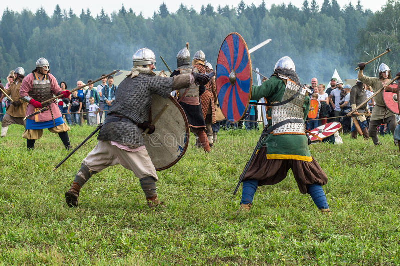 Roleplay - reconstruction of old Slavic battle on the festival of historical clubs in the Kaluga region of Russia. In recent years, Russia became widespread stock photo