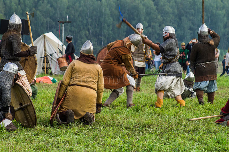 Roleplay - reconstruction of old Slavic battle on the festival of historical clubs in the Kaluga region of Russia. In recent years, Russia became widespread stock photography