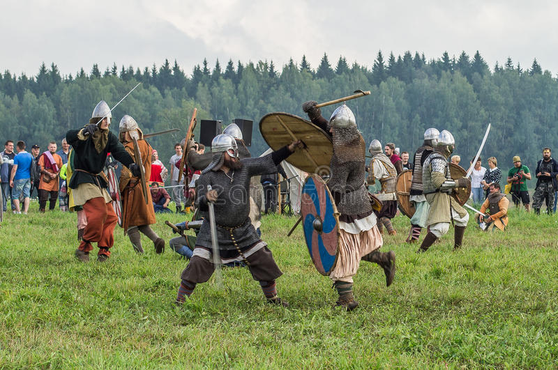 Roleplay - reconstruction of old Slavic battle on the festival of historical clubs in the Kaluga region of Russia. In recent years, Russia became widespread royalty free stock photo
