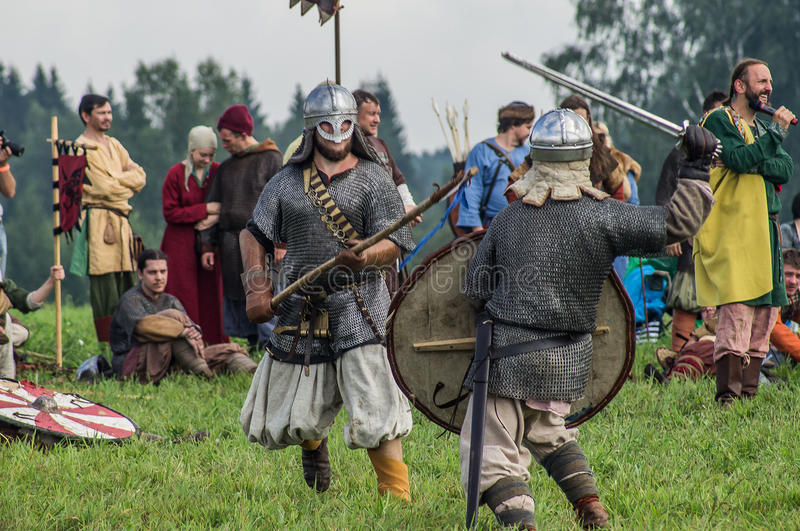 Roleplay - reconstruction of old Slavic battle on the festival of historical clubs in the Kaluga region of Russia. In recent years, Russia became widespread stock photos