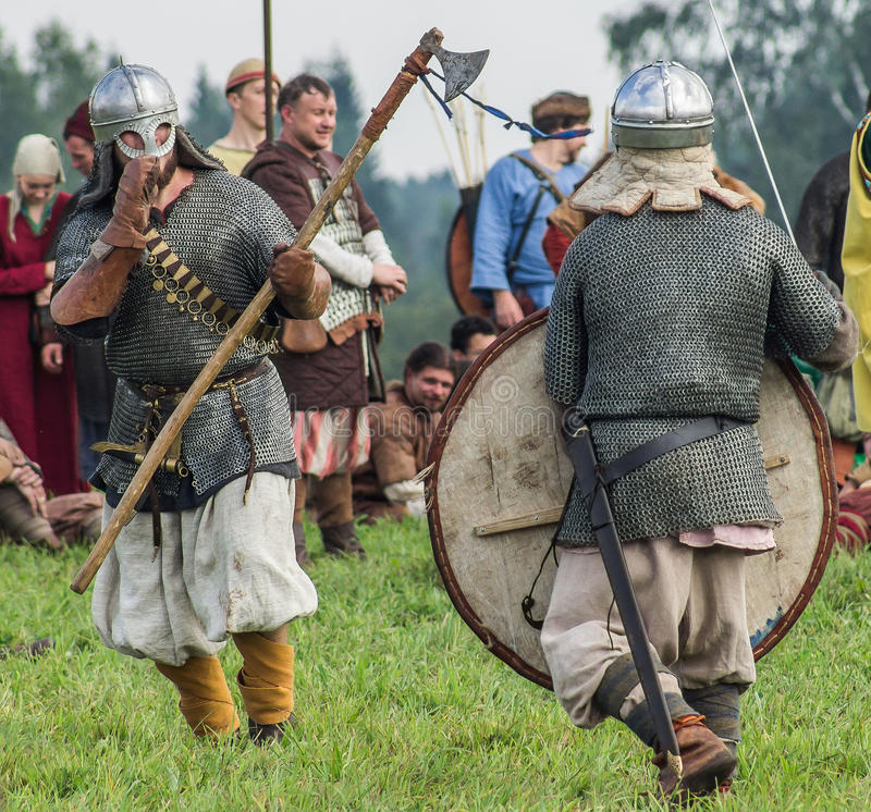 Roleplay - reconstruction of old Slavic battle on the festival of historical clubs in the Kaluga region of Russia. In recent years, Russia became widespread royalty free stock images
