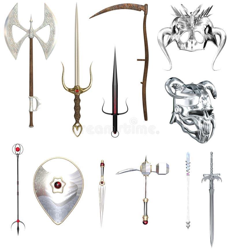 RPG hełmy i bronie royalty ilustracja