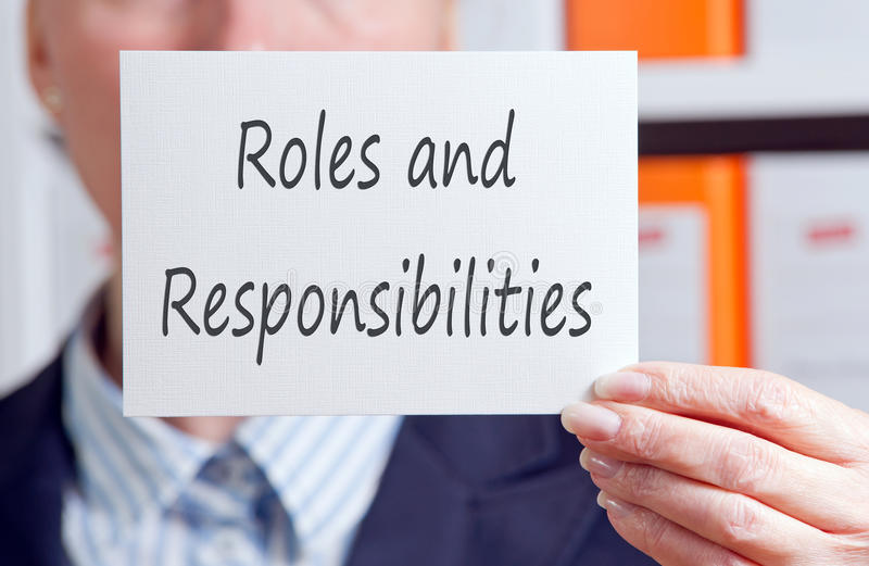 Roles and Responsibilities stock image