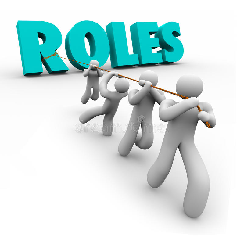 Roles Word Pulled by Team Members Jobs Duties Tasks royalty free illustration