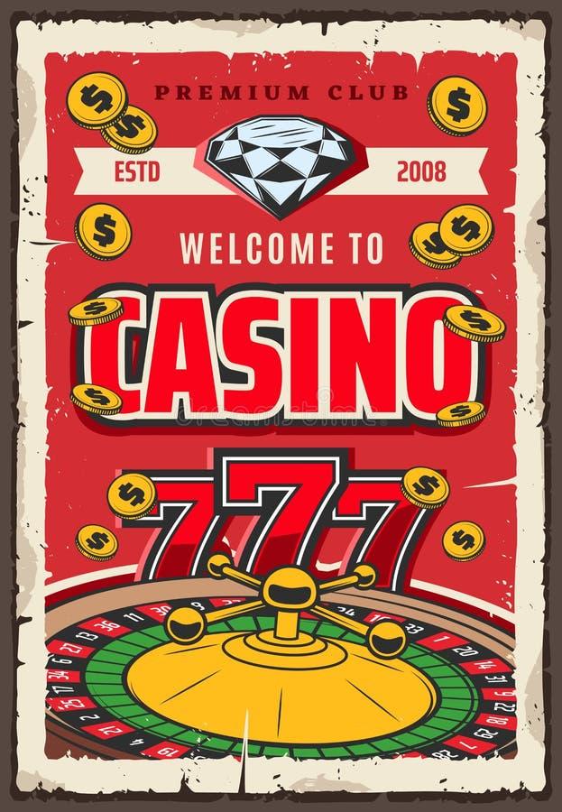 Roleta de jogo do casino, gema e moedas douradas ilustração royalty free