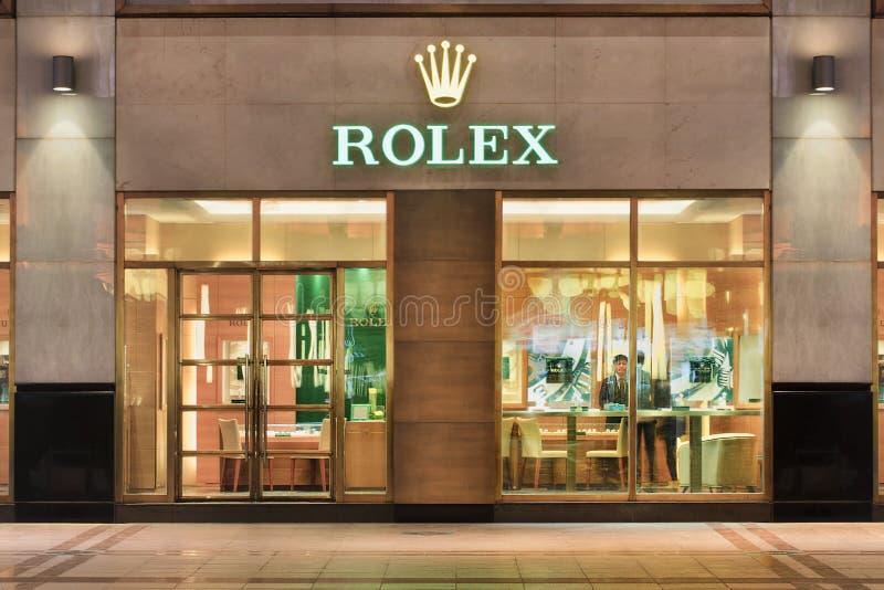 Rolex-afzet bij nacht, Peking, China royalty-vrije stock foto