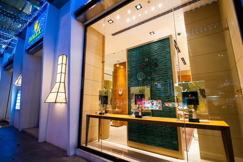 Rolex butika pokazu okno chi ho minh Vietnam zdjęcie royalty free