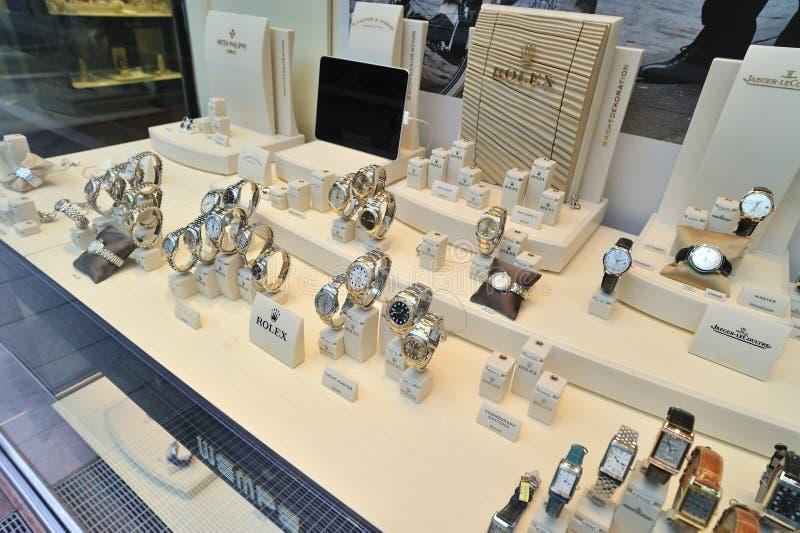rolex gabloty wystawowej zegarki zdjęcie stock