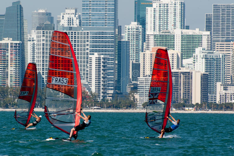 Rolex Miami OCR - Windsurfers in Miami. Miami, January 29, 2011 - Spanish, French and British windsurfers racing against the Miami skyline at US Sailing's Rolex stock photography