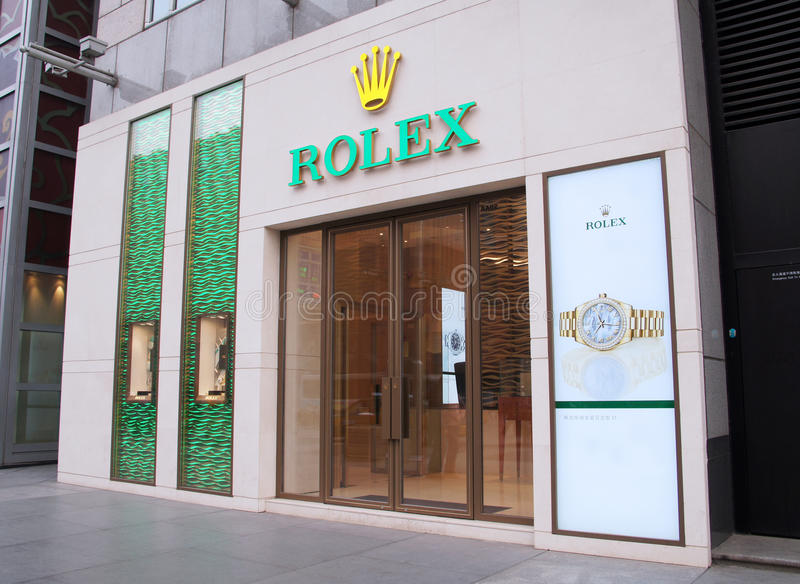 Rolex-opslag in China stock afbeelding
