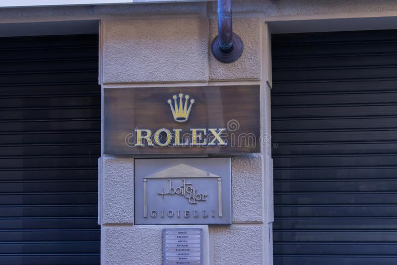 Rolex shop in `Via Maestra` the main street dedicated to shopping in the city of Alba in Italy. royalty free stock photos