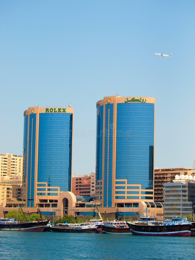 Rolex Towers, Dubai Creek stock images