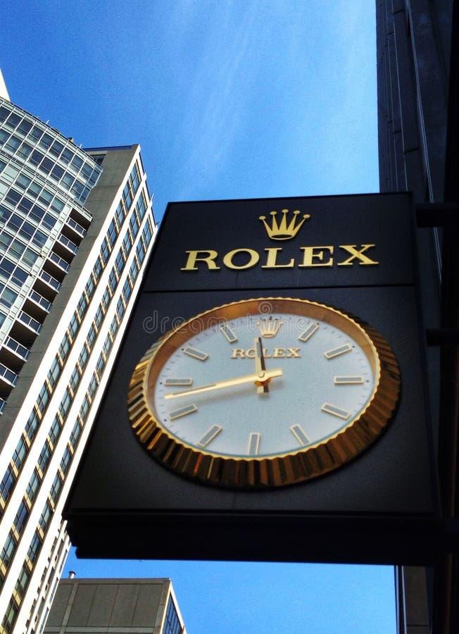 Rolex zegaru zrozumienia na ścianie zegarek robią zakupy w Toronto obrazy royalty free