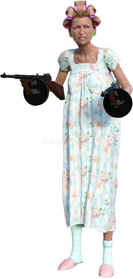 Rolig äldre pensionär, maskingevär som isoleras stock illustrationer