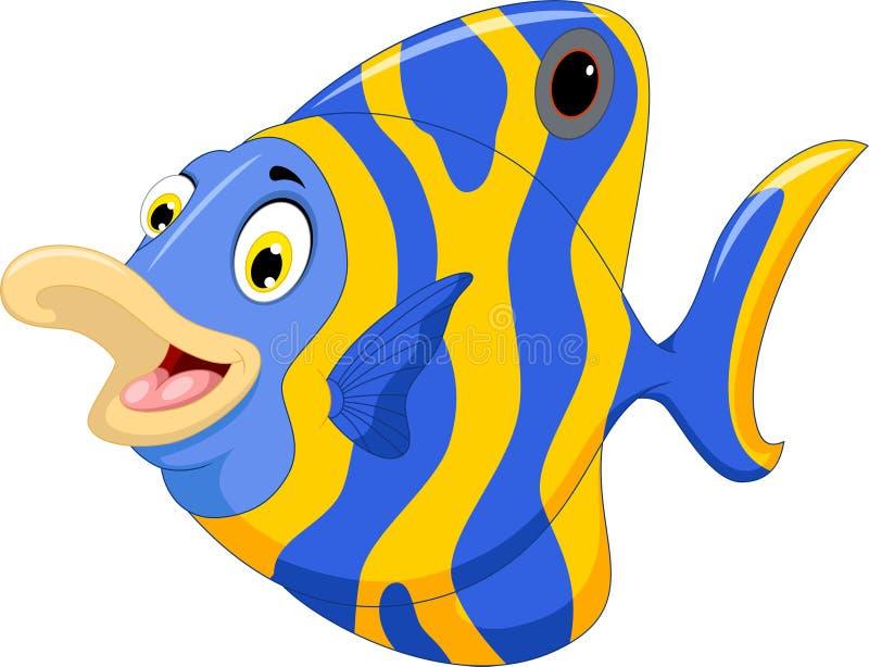 Rolig ängelfisktecknad film royaltyfri illustrationer