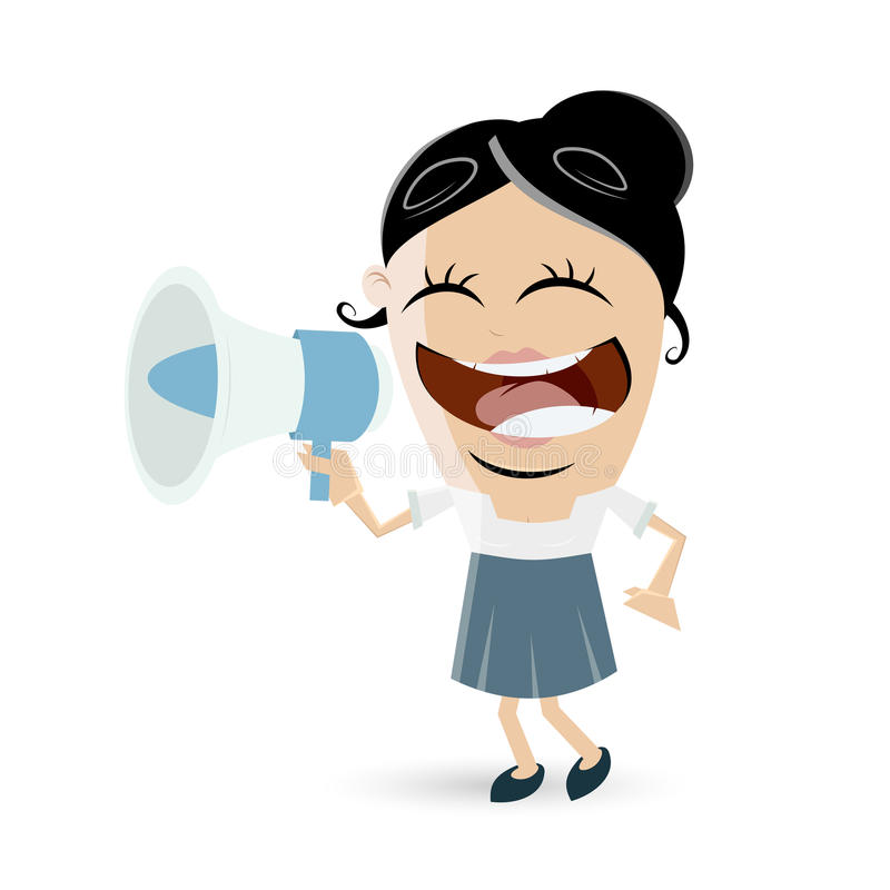 Rolig affärskvinna med megafonen stock illustrationer