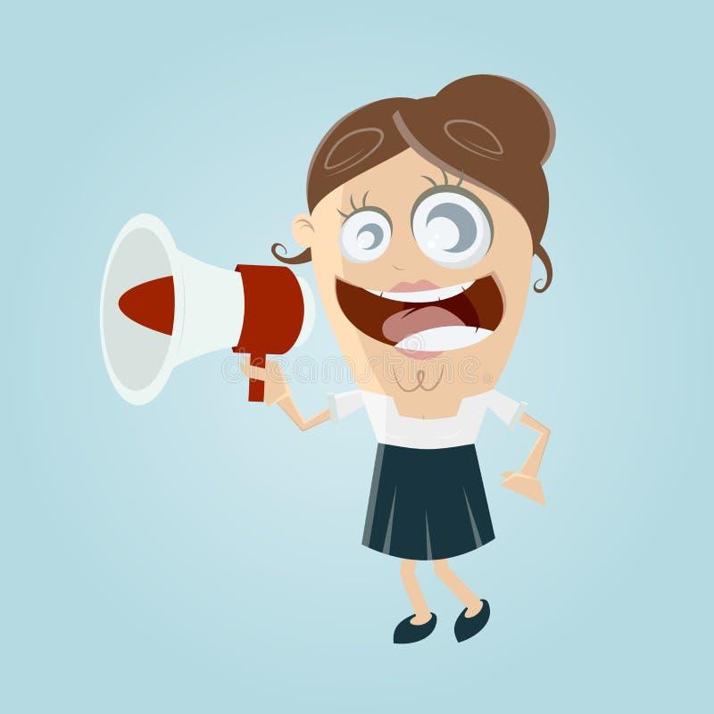 Rolig affärskvinna med megafonen royaltyfri illustrationer