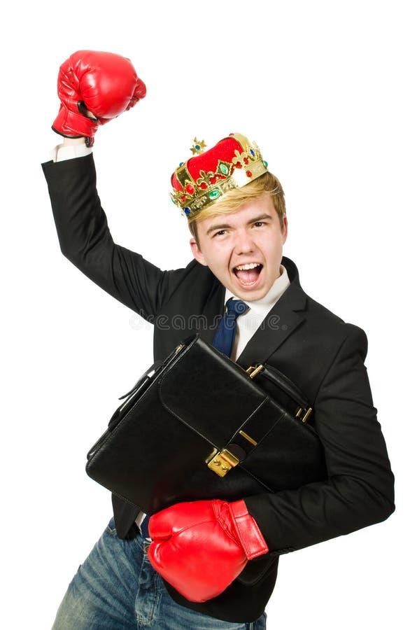 Rolig affärsman med kronan royaltyfri fotografi