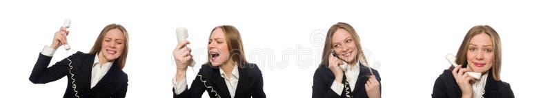 Rolig aff?rskvinna som isoleras p? vit arkivbild