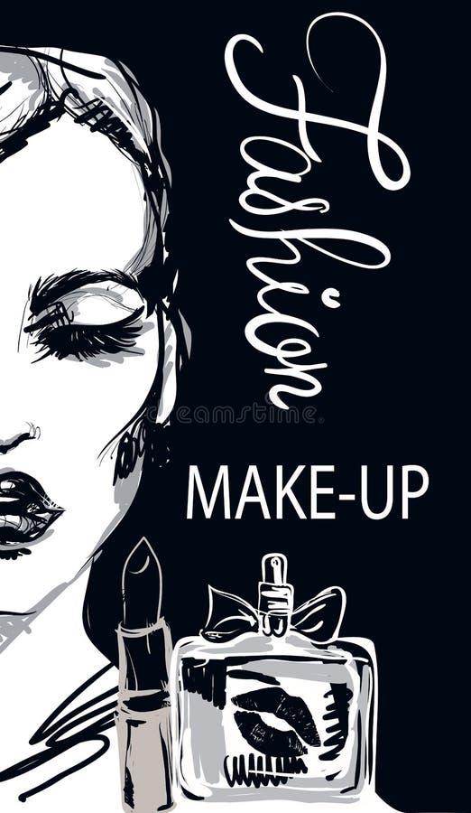 Rolig affisch för kvinnamodeillustration med kvinna- och sminkhjälpmedel royaltyfri illustrationer