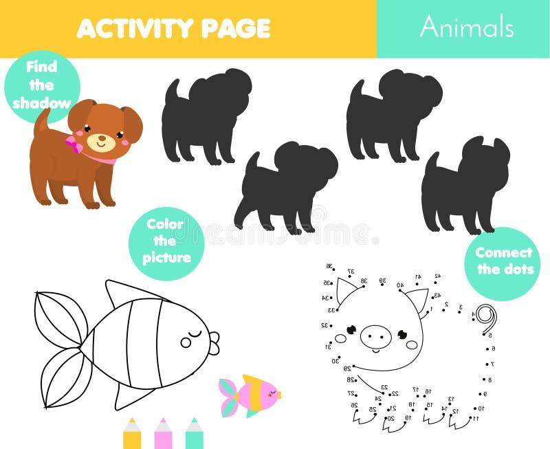 Rolig aktivitetssida för ungar Bildande barnlek Djurtemat som färgar sidan, förbinder prickarna, finner skuggauppsättningen vektor illustrationer